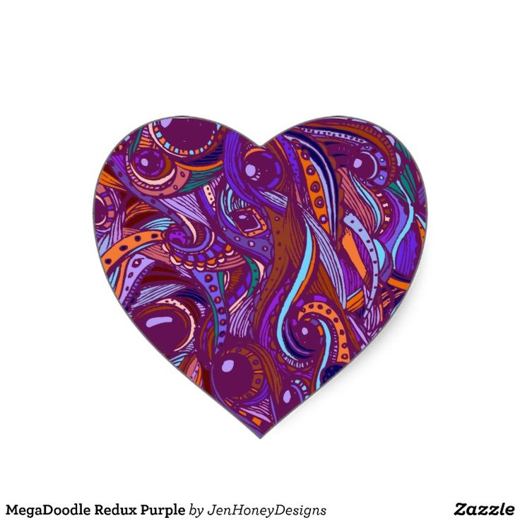 Megadoodle redux purple heart sticker
