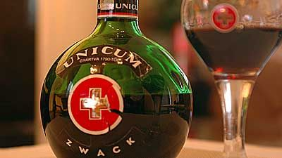 Unicum is an herbal digestive liqueur. The liqueur is today produced by Zwack according to a secret formula of more than forty herbs, and the drink is aged in oak casks.