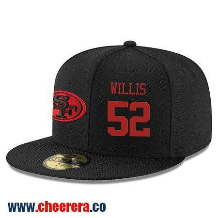 San Francisco 49ers #52 Patrick Willis Snapback Cap NFL Player Black with Red Number Hat