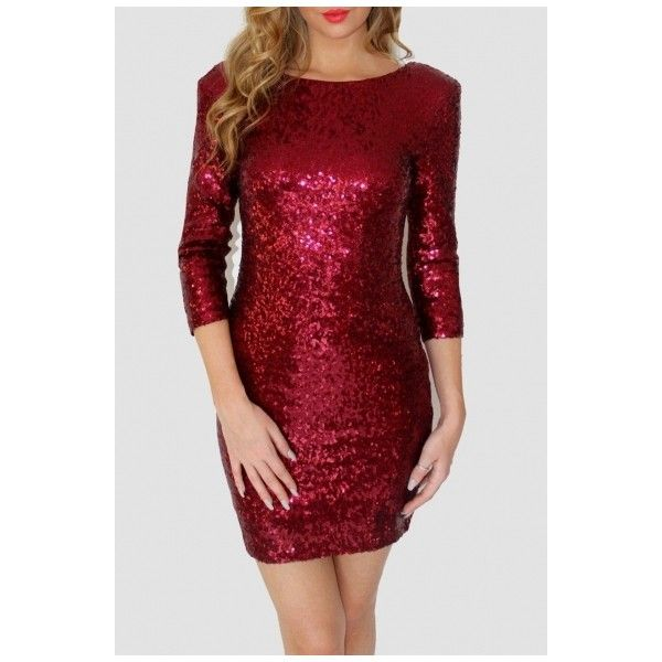 Women's Sparkle Glitzy Glam Sequin 3/4 Sleeve Dress ($33) ❤ liked on Polyvore featuring dresses, short sparkly dresses, sparkly cocktail dresses, 3/4 sleeve cocktail dress, three quarter sleeve dress and sequin dresses