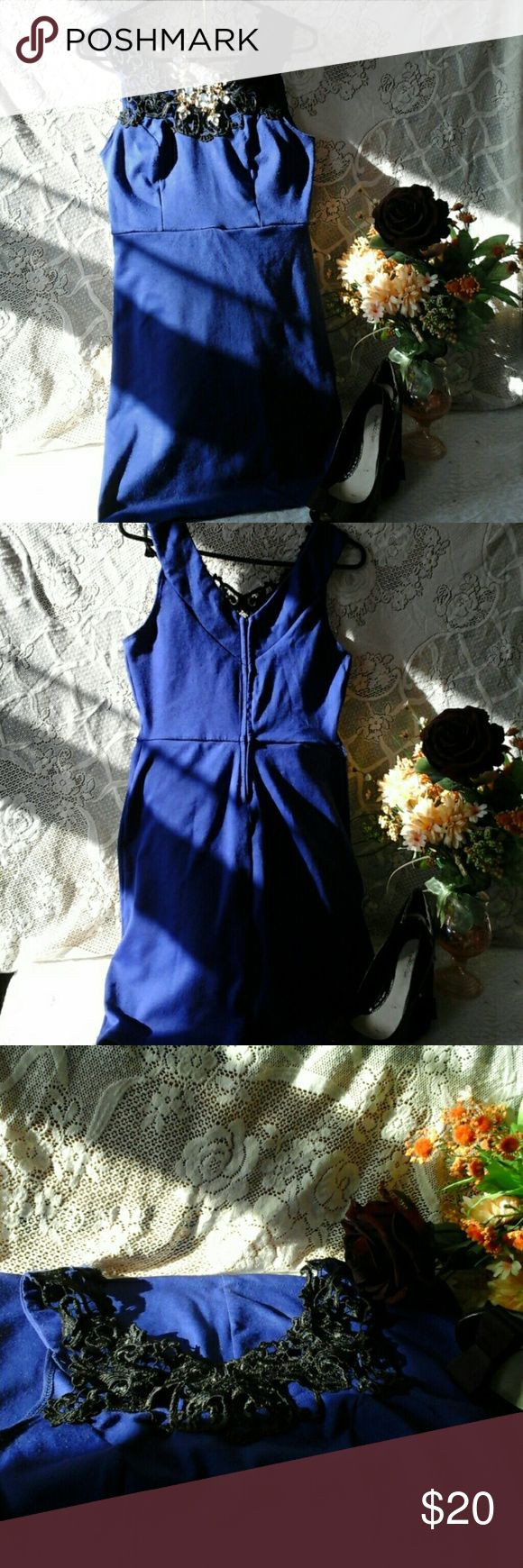 Cute blue dress! Good condition,  89% polyester,  7% rayon, 4% spandex, Junior size. As U Wish Dresses Mini