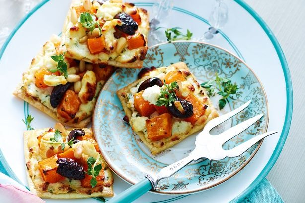 Roast Pumpkin And Feta Tarts Recipe - Taste.com.au Another good use for that puff pastry we know how to make now !