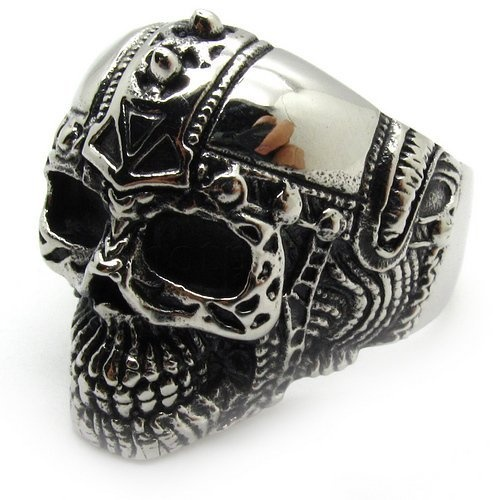 High Quality Wholesale Mens Jewelry Silver Knight Skull Finger Ring Biker Party Ring Stainless Steel  http://www.bikeraa.com