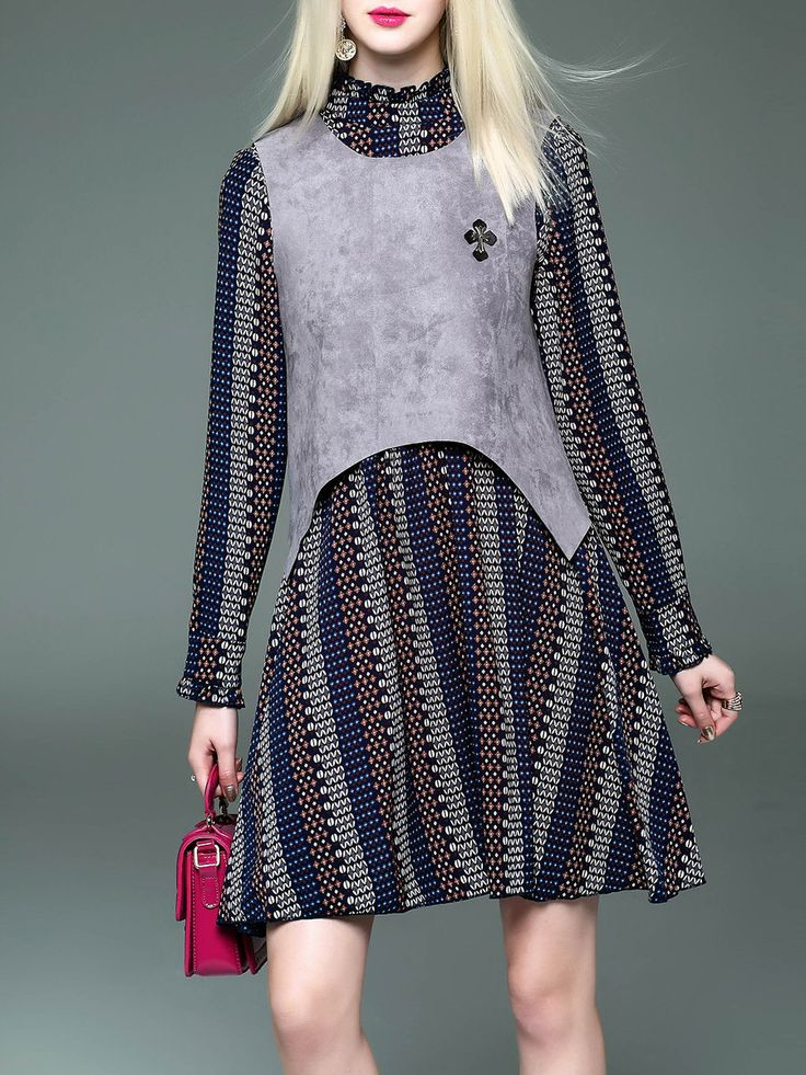 #AdoreWe #StyleWe Dresses - D.FANNI Navy Blue Two Piece Printed Casual Midi Dress - AdoreWe.net