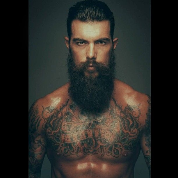 Dave driskell full thick long dark beard and mustache for Bearded tattooed man