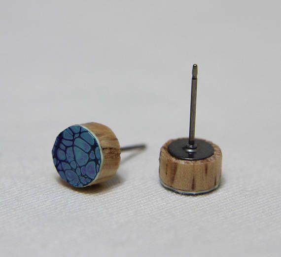 Purple and Teal Fluid Painting Art Wood Stud Earrings with