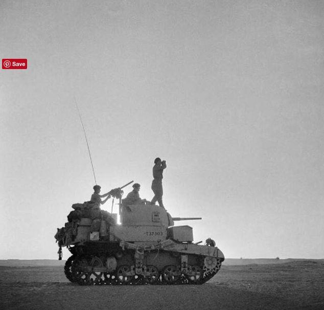 El Alamein, Bernard Montgomery, leaders of the 8th Army surveilling battlefield on top of a Matilda tank.