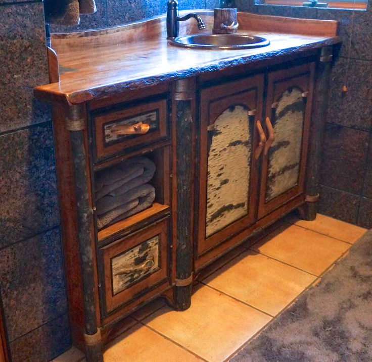 Www.lpostrustics.com Adirondack Rustic Vanity In A Contemporary Bathroom.  This One Has