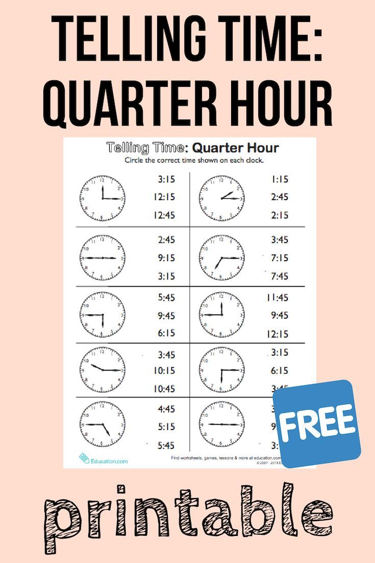 Telling Time On The Quarter Hour Match It Worksheet Education Com Math Activities For Kids Homeschool Math Homeschool Math Curriculum