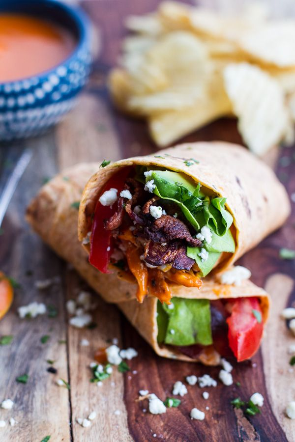 Buffalo Chicken + Avocado BLT Wraps | halfbakedharvest.com