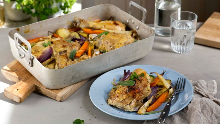 Oppskrift på Kylling i form med rotgrønnsaker