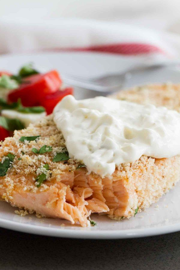 This Crispy Baked Salmon is super easy and can be on your table in less than 30 SUPER EASY FAST Crispy Salmon w/ easy homemade tartar sauce, this salmon can't be beat!