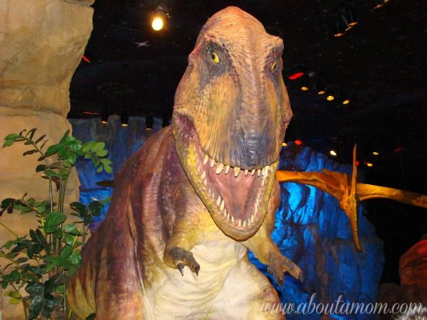 Dining with the Dinos at T-Rex Cafe in Downtown Disney #travel #restaurants -- Definitely a lot of fun.  Very, very noisy ... and the food was OK (not anything special).  But we were there for the experience -- and we got it!  Reservations definitely needed -- unless you're there at a time when it's not too busy.