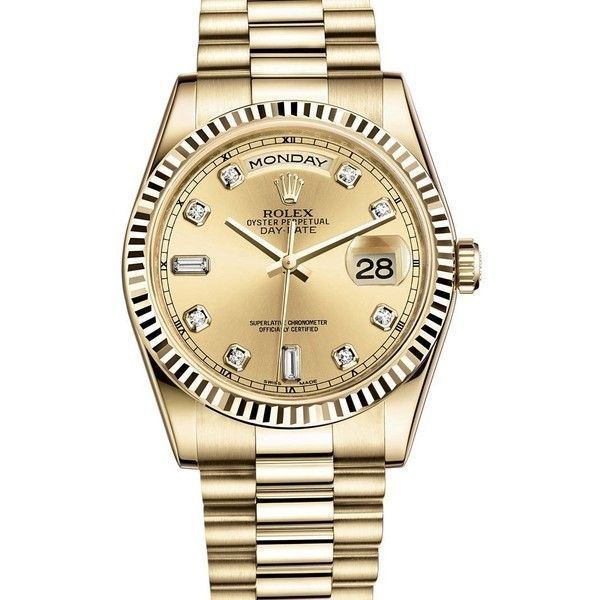 ROLEX DAY-DATE PRESIDENT 36MM YELLOW GOLD WATCH WITH DIAMOND DIAL... ($25) ❤ liked on Polyvore featuring jewelry, watches, rolex wrist watch, gold wristwatches, diamond wrist watch, gold jewelry and diamond jewelry