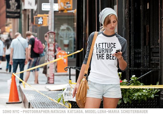 lettuce turnip the beet - grey baseball jersey  - unisex XS, S, M, L, or XL - custom order