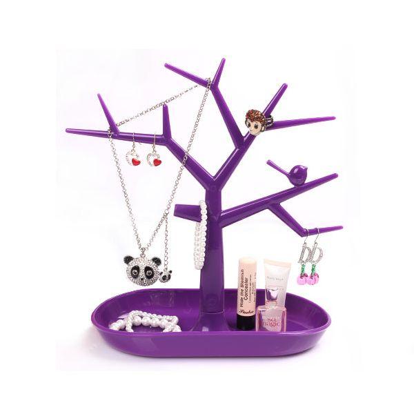 Stojan na šperky v tvare plastového stromu - fialový
