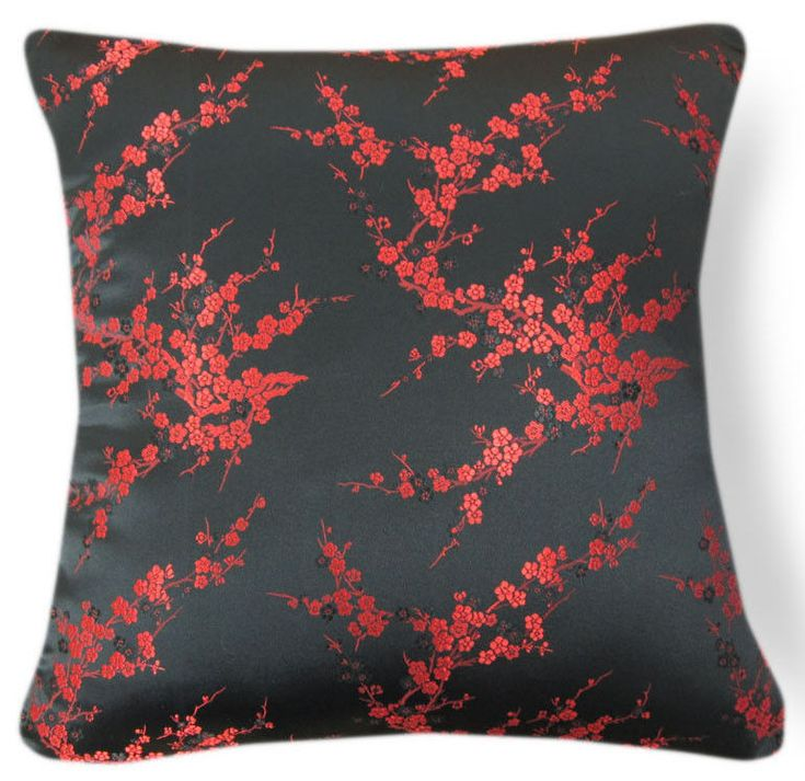 Red Peach Blossom Rayon Brocade Cushion Cover