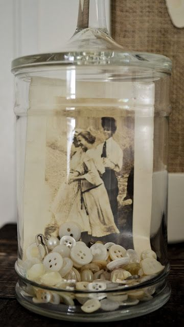 Photo and Buttons in a Memory Glass Jar With Lid