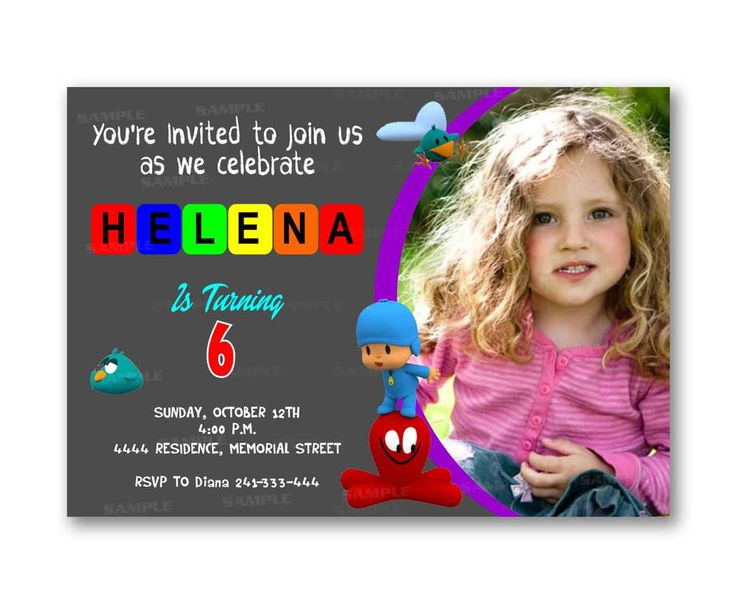Chalkboard Pocoyo Colorful Kids Birthday Invitation Party Design
