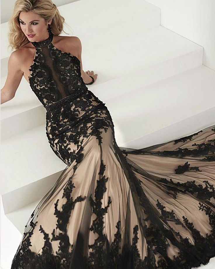 Elegant Black Lace Evening Dresses Mermaid Turkish Party Halter Tulle Women Ladies Prom Formal Evening Gown Dress for Wedding-in Evening Dresses from Weddings & Events on Aliexpress.com | Alibaba Group