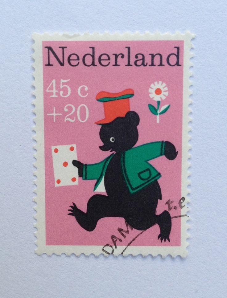 1967 Kinderzegels | Wim Bijmoer | roze, groen, rood, zwart | Beertje Pippeloentje