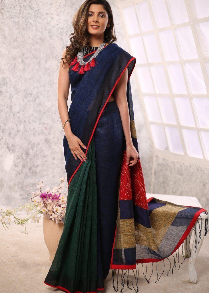 3627052897 Navy blue & green combination pure linen saree with bandhani & ghicha pallu