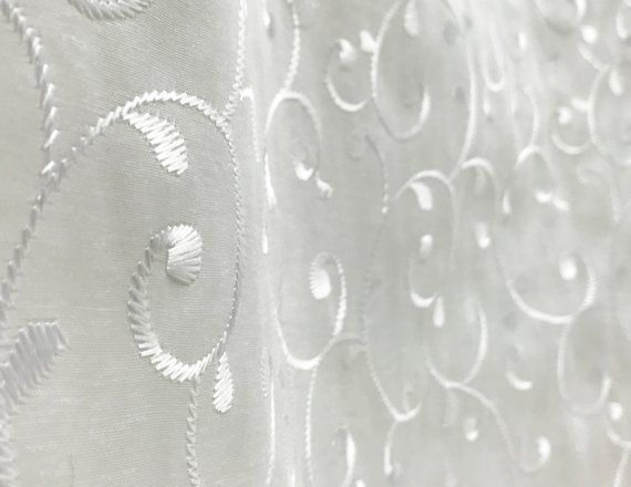 Wide Embroidered Sheer Fabric Extra Wide Sheer Drapery Fabric