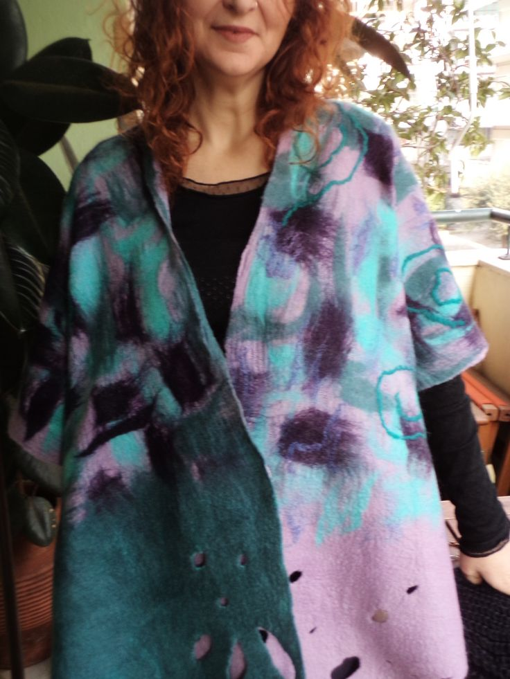 Nuno felted jacket/poncho by SalkimiCreations https://www.facebook.com/Salkimi-creations-354955884660229/timeline