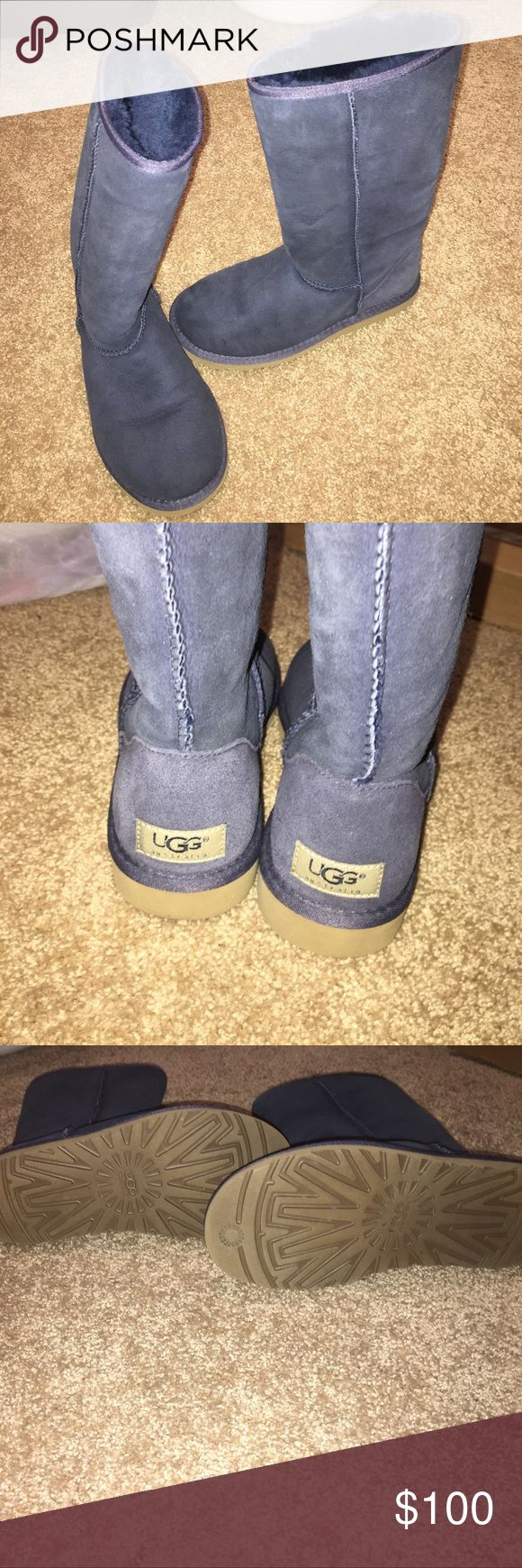 Classic Tall Navy Blue Uggs Almost perfect condition. Only worn twice. Size 6. Everything in tact! Look/feel brand new. UGG Shoes Winter & Rain Boots