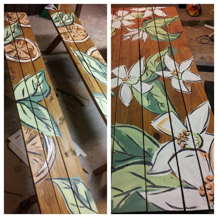 Adorable orange blossom picnic table painted by sarahmbender.com  #orangeblossoms #floridaliving