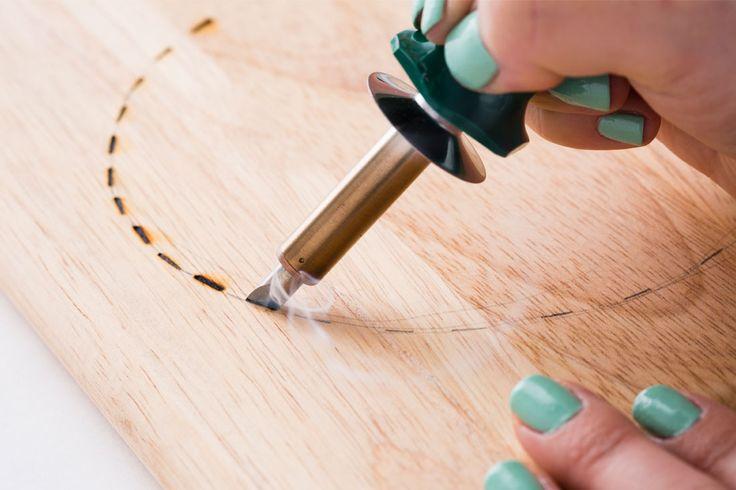 Use a wood burning kit to create a custom cheese board.