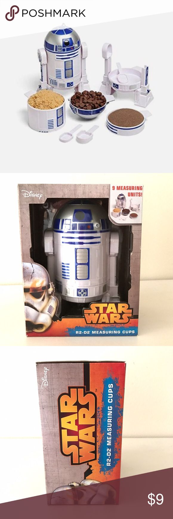 """Disney Star wars R2D2 Measuring cups Ok I know this isn't really """"posh"""" but it is fabulous so I figure why not try. This is brand new in box. Retailing for $30 on Amazon right now and trending hard on eBay! I think it would make a great gift Bundled with the brand new R2D2 sequined backpack I have listed, get my bundle discount, and save on shipping! I would keep this, however; I'm not a huge fan of Star Wars (I know, gasp!) Star Wars Other"""