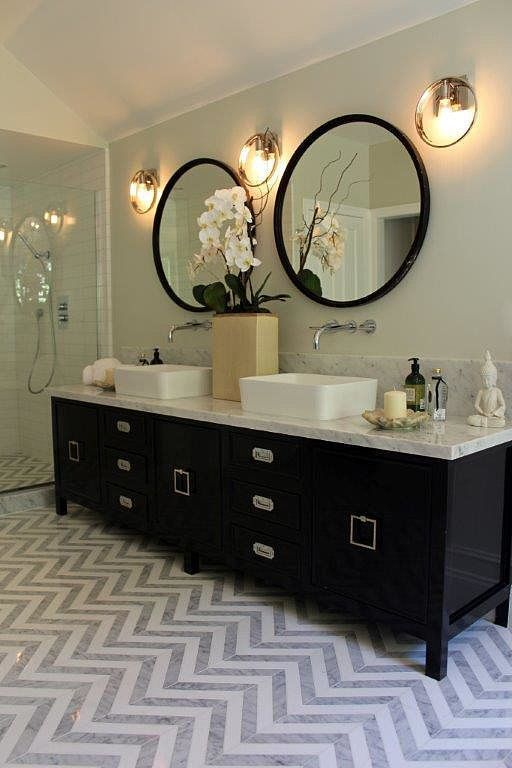 This marble chevron floor is EVERYTHING
