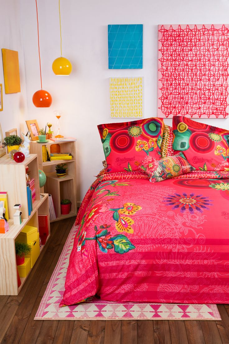 Let Desigual dress your bedroom this season.  Need some home inspiration? Then look no further! This reversible floral and mandela print duvet will brighten up any bedroom.