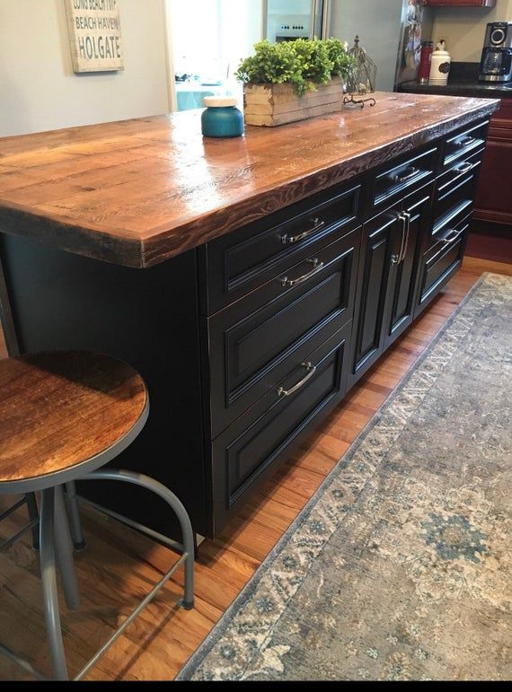 Custom To Size Reclaimed Wood Kitchen Island Dining Table Tops Attach To Your Cabinet Base Custom Made To Order In 2020 Reclaimed Wood Kitchen Island Wood Kitchen Island Contemporary Kitchen