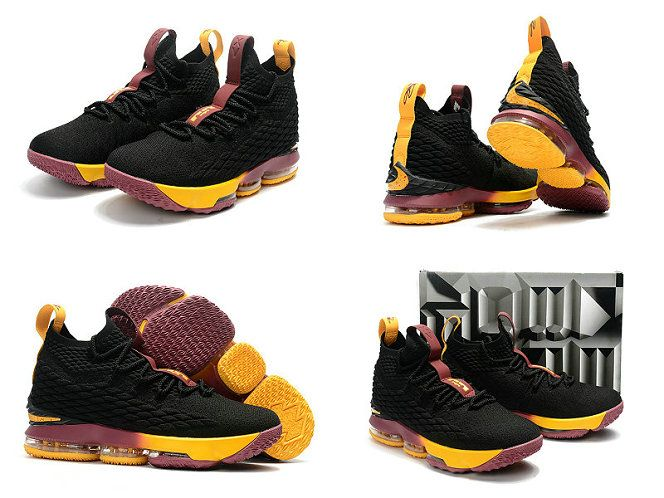 more photos f5f71 d9306 2018 Really Cheap 2017 2018 Lebron 15 XV Black Wine Gold Cavs Classic Color