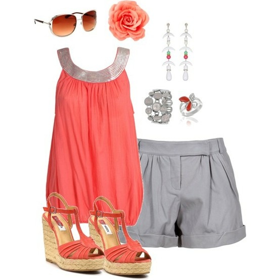coral!! coral!! coral!!Leather Shorts, Colors Combos, Fashion, Style, Color Combos, Cute Outfits, Cute Summer Outfits, Summer Night, Dreams Closets