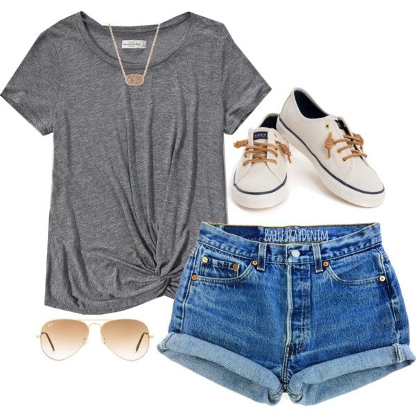 A fashion look from April 2016 featuring Abercrombie & Fitch t-shirts, Levi's shorts und Sperry sneakers. Browse and shop related looks.