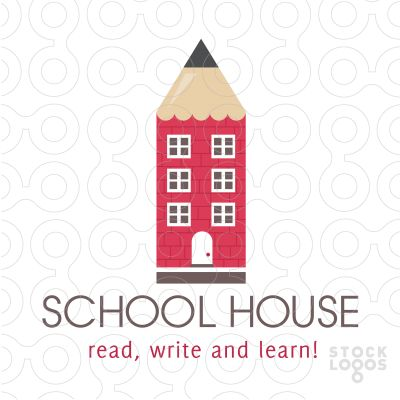 Clean and unique logo design combines a pencil and school house into one unique and creative logo design.(