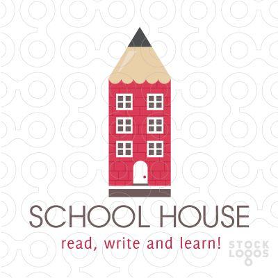 Clean and unique logo design combines a pencil and school house into one unique and creative logo design.(
