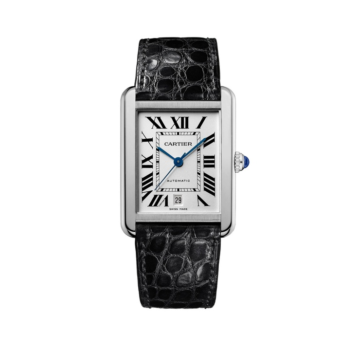 Cartier Tank Solo Extra Large- Cartier Tank was created by Louis Cartier in 1917, and inspired by the new Renault tanks which Cartier saw in use on the Western Front, and the prototype watch was presented by Cartier to General John Pershing of the American Expeditionary Force. Its lines and proportions are similar to those of tanks found on First World War battlefields; it is both a square and a rectangle, and its straps are concealed under vertical sidepieces so as to be hidden from view.
