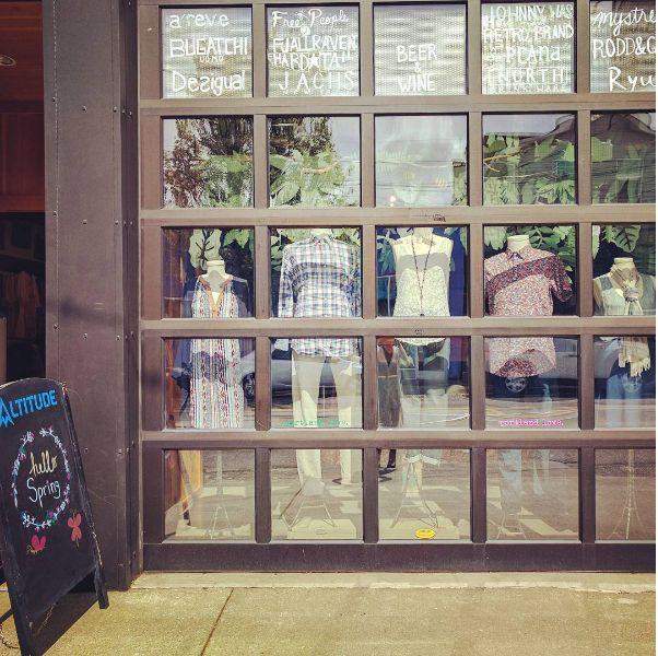 Hello Spring. #elevateyourstyle #altitudepdx #spring #window #fashion #womenswear #menswear #clothing #shopping #portland #storefront #windowdisplay #retail #boutique
