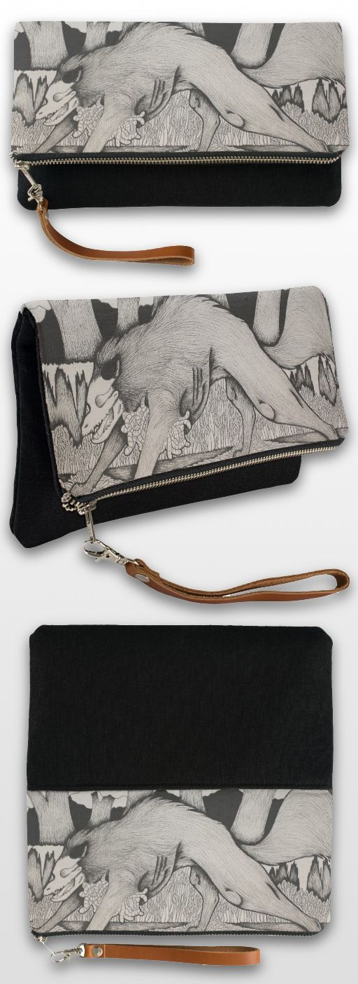 """Heartworms"" Black And White Illustrated Wolf Clutch Bag #wolf_products #wolf_gifts #wolf_art #wolf_illustration"