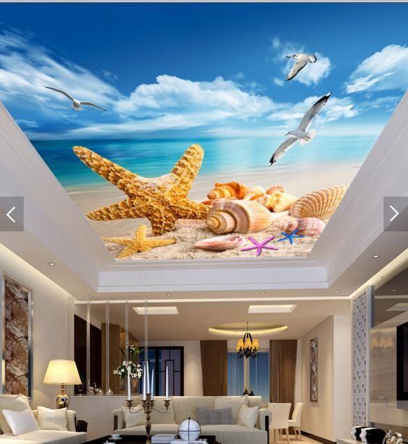 Комната 3d на заказ фреску нетканые стикер стены 3d морская звезда птицы потолочные фрески фото 3d настенная обои