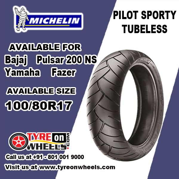 Buy Michelin Bike Tyres Online of Pilot Sporty Tubeless Tyres for Bajaj Pulsar 200 NS Front Tyre Size 100/80R 17 at Guaranteed Low Prices Buy at http://www.tyreonwheels.com/biketyre/Michelin/PILOT-SPORTY/9117