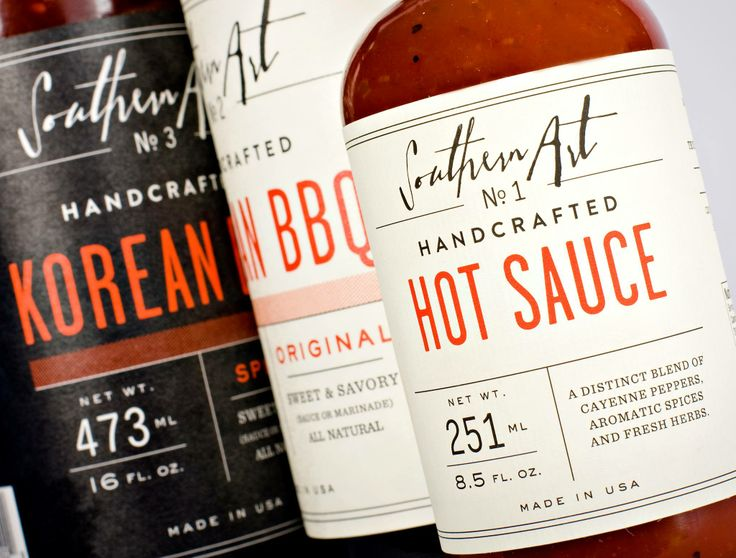 Southern Art Hot Sauce packaging, typeface close to Lassigue on Tony's computer