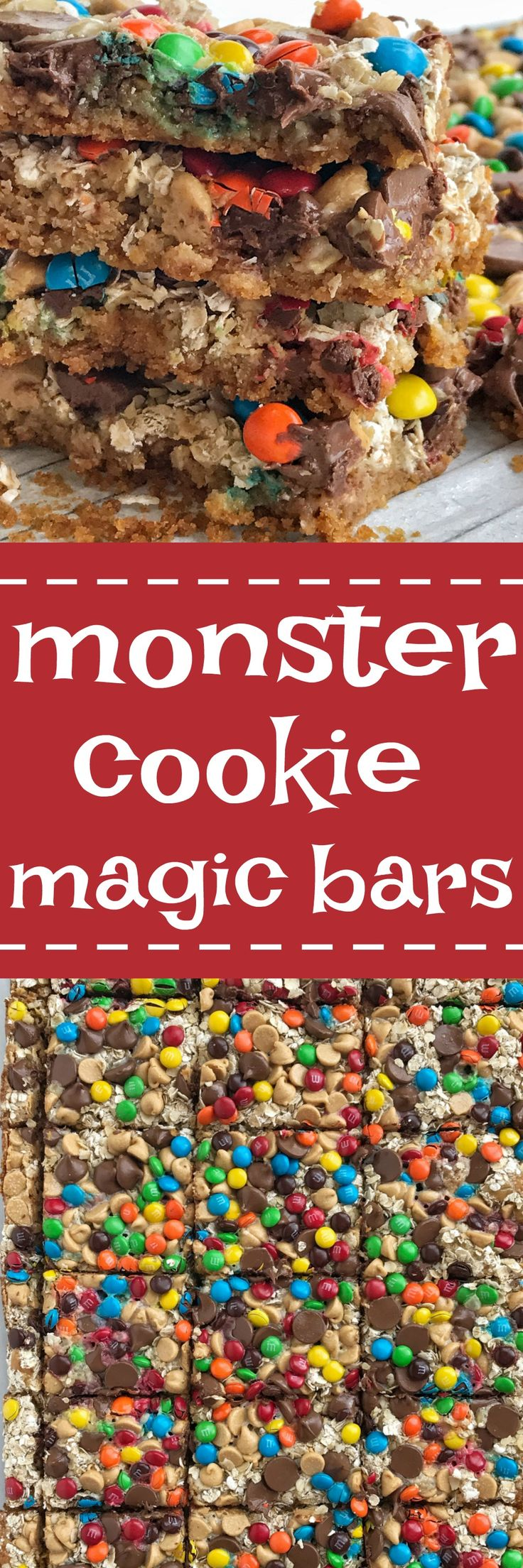 All the classic flavors you love in a monster cookie but in a magic cookie bar! These monster cookie magic bars have a salty sweet graham cracker crust and then loaded with oats, peanut butter chips, chocolate chips, m&m's and drizzled in sweetened condensed milk.
