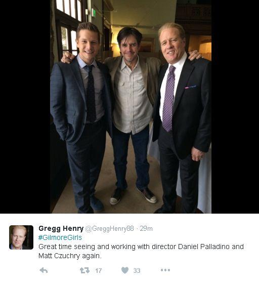 Matt Czuchry (Logan Huntzberger), Daniel Palladino, and Gregg Henry (Mitchum Huntzberger)