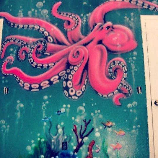 Hi Pink Octopus!!! Under the Sea Mural for Girl mermaid room