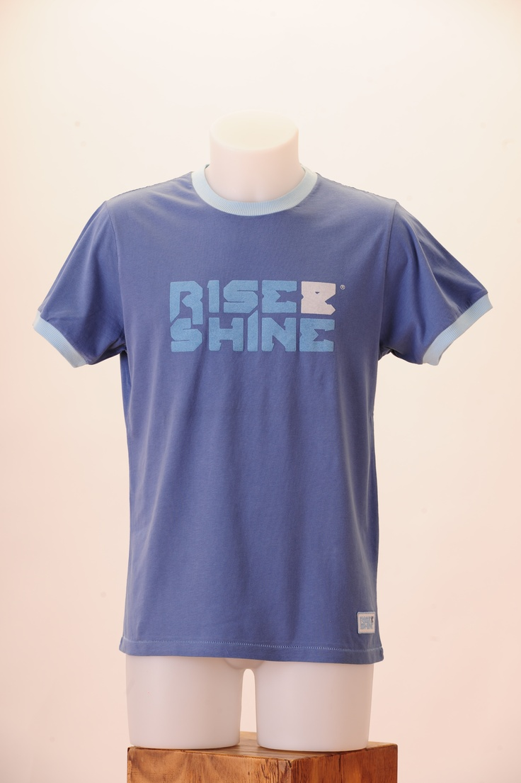 RiseLogoBlue. 100% cotton, pre-washed for a vintage look.